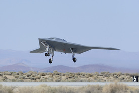 X-47B unmanned aircraft lift off