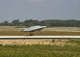 X-47B UCAS Makes First Flight from Pax River